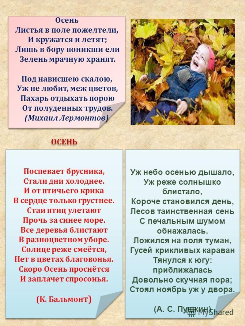 Осень Листья в поле пожелтели, И кружатся и летят ; Лишь в бору поникши ели Зелень мрачную хранят. Под нависшею скалою, Уж не любит, меж цветов, Пахарь отдыхать порою От полуденных трудов. ( Михаил Лермонтов ) Осень Листья в поле пожелтели, И кружатс