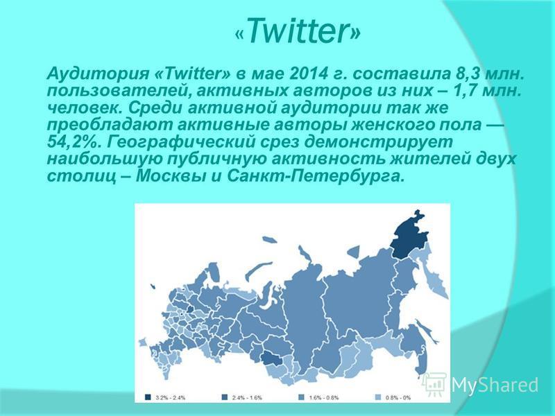 « Twitter» Аудитория «Twitter» в мае 2014 г. составила 8,3 млн. пользователей, активных авторов из них – 1,7 млн. человек. Среди активной аудитории так же преобладают активные авторы женского пола 54,2%. Географический срез демонстрирует наибольшую п