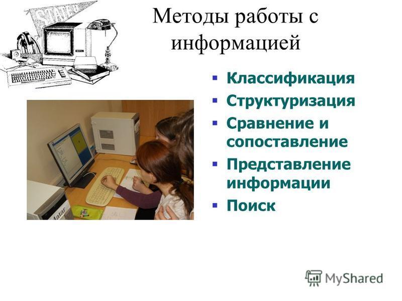 Методы работы с информацией Классификация Структуризация Сравнение и сопоставление Представление информации Поиск