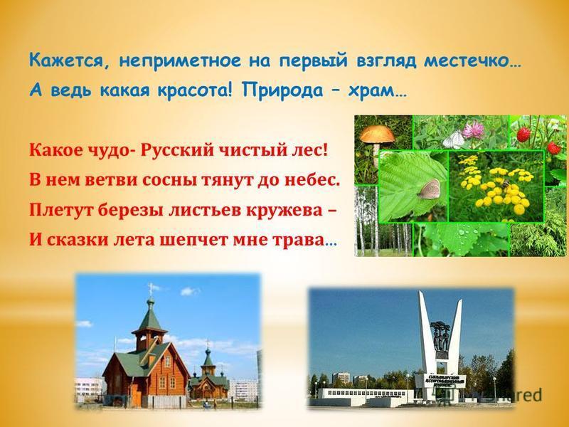 Кажется, неприметное на первый взгляд местечко… А ведь какая красота! Природа – храм… Какое чудо- Русский чистый лес! В нем ветви сосны тянут до небес. Плетут березы листьев кружева – И сказки лета шепчет мне трава …