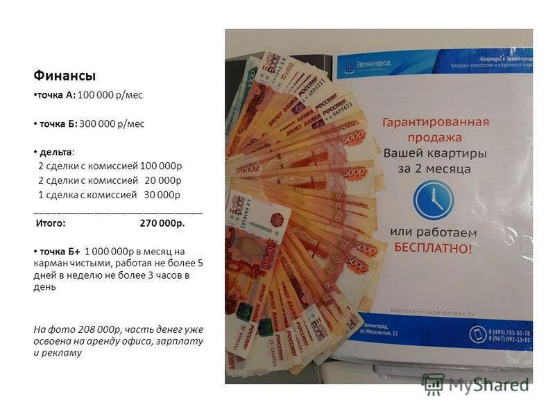 Финансы точка А: 100 000 р/мес точка Б: 300 000 р/мес дельта: 2 сделки с комиссией 100 000 р 2 сделки с комиссией 20 000 р 1 сделка с комиссией 30 000 р _______________________________ Итого: 270 000 р. точка Б+ 1 000 000 р в месяц на карман чистыми,