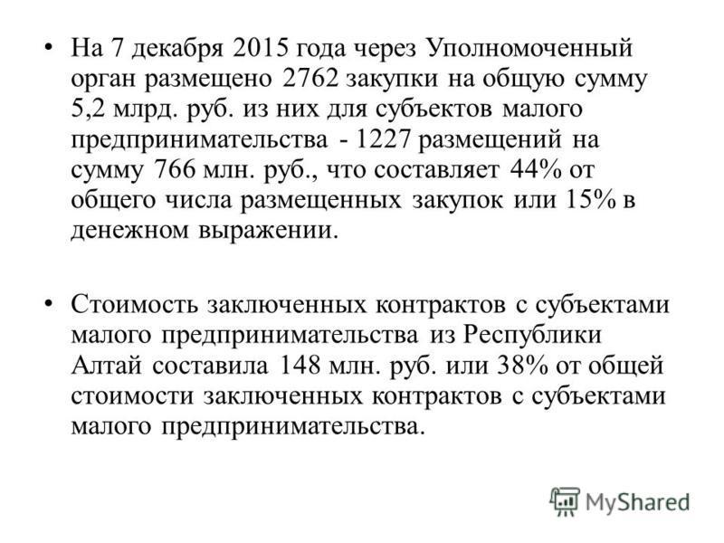 На 7 декабря 2015 года через Уполномоченный орган размещено 2762 закупки на общую сумму 5,2 млрд. руб. из них для субъектов малого предпринимательства - 1227 размещений на сумму 766 млн. руб., что составляет 44% от общего числа размещенных закупок ил