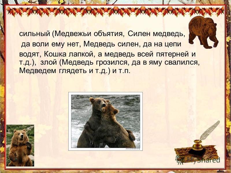 сильный (Медвежьи объятия, Силен медведь, да воли ему нет, Медведь силен, да на цепи водят, Кошка лапкой, а медведь всей пятерней и т.д.), злой (Медведь грозился, да в яму свалился, Медведем глядеть и т.д.) и т.п.