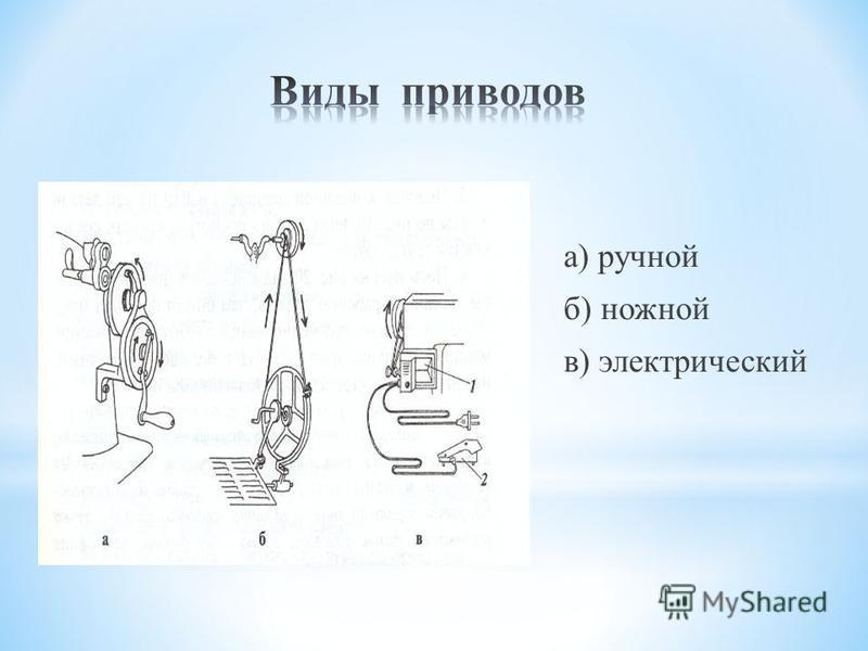 а) ручной б) ножной в) электрический