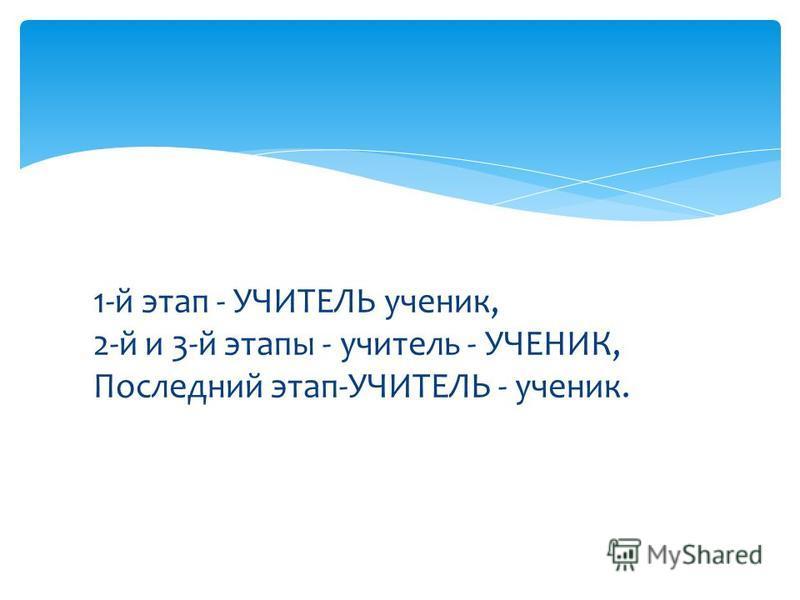 1-й этап - УЧИТЕЛЬ ученик, 2-й и 3-й этапы - учитель - УЧЕНИК, Последний этап-УЧИТЕЛЬ - ученик.