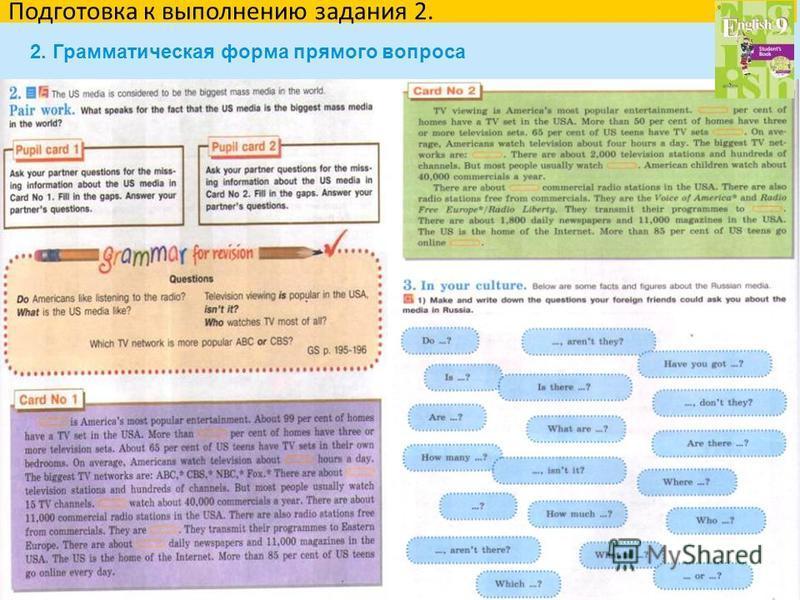 36 Подготовка к выполнению задания 2. 2. Грамматическая форма прямого вопроса