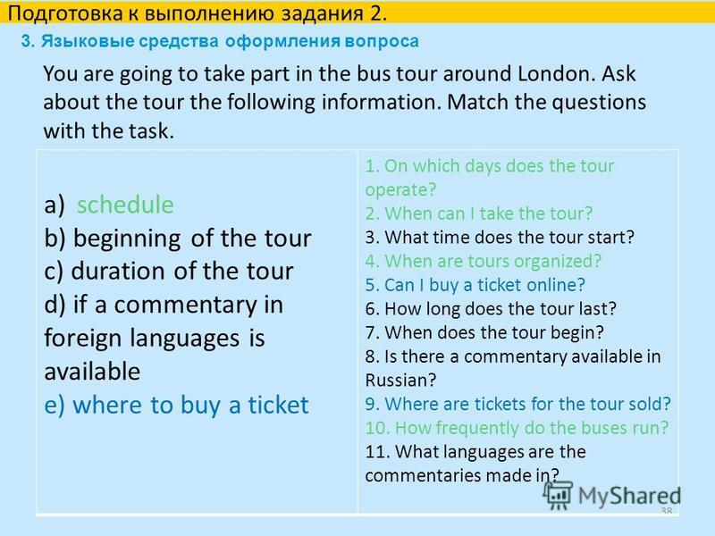 You are going to take part in the bus tour around London. Ask about the tour the following information. Match the questions with the task. 38 Подготовка к выполнению задания 2. a) schedule b) beginning of the tour c) duration of the tour d) if a comm