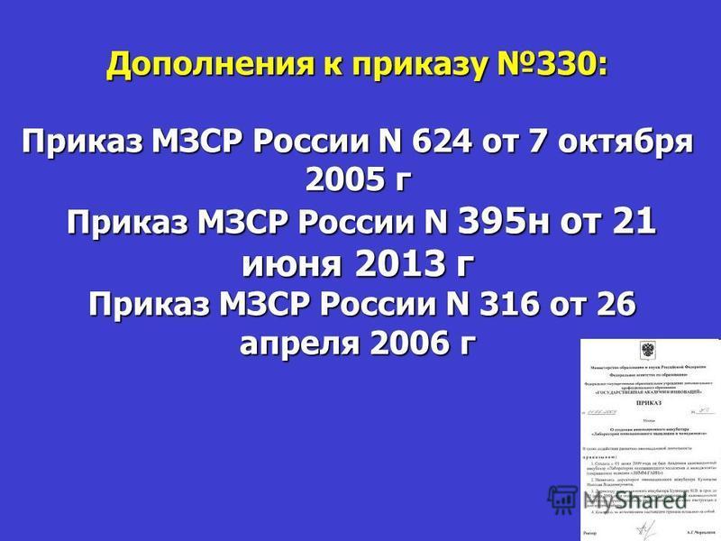 Дополнения к приказу 330: Приказ МЗСР России N 624 от 7 октября 2005 г Приказ МЗСР России N 395 н от 21 июня 2013 г Приказ МЗСР России N 316 от 26 апреля 2006 г