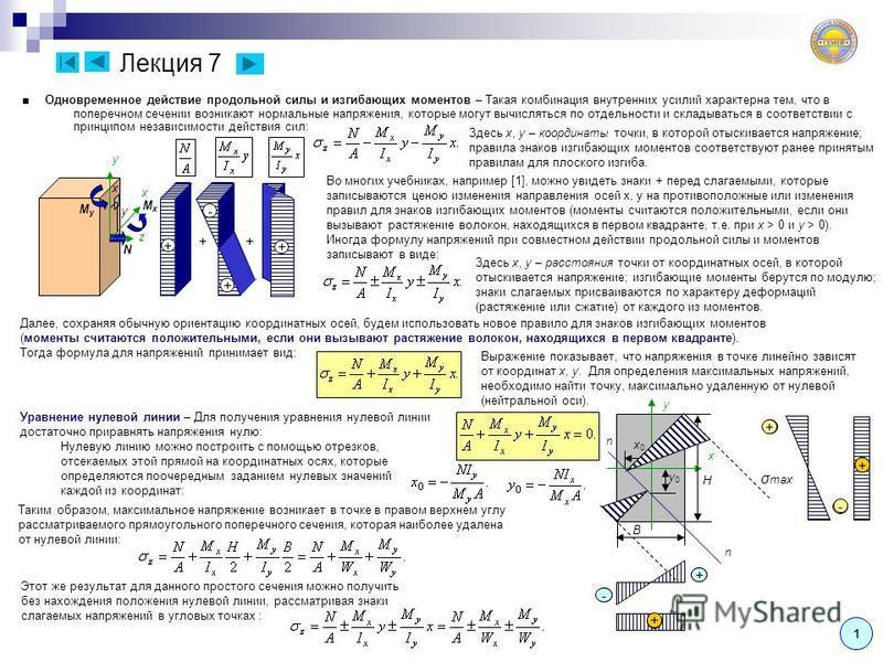 x y x0x0 y0y0 n n H B Лекция 7 Одновременное действие продольной силы и изгибающих моментов – Такая комбинация внутренних усилий характерна тем, что в поперечном сечении возникают нормальные напряжения, которые могут вычисляться по отдельности и скла