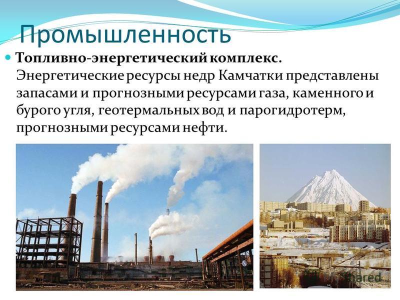 Промышленность Топливно-энергетический комплекс. Энергетические ресурсы недр Камчатки представлены запасами и прогнозными ресурсами газа, каменного и бурого угля, геотермальных вод и парогидротерм, прогнозными ресурсами нефти.