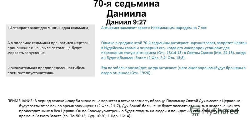 70-я ведьмина Даниила Даниил 9:27 ПРИМЕЧАНИЕ: В период великой скорби экономика вернется к ветхозаветному образцу. Поскольку Святой Дух вместе с Церковью будут взяты от земли во время восхищения (2 Фес. 2:1,7), Дух Божий больше не будет поселяться и