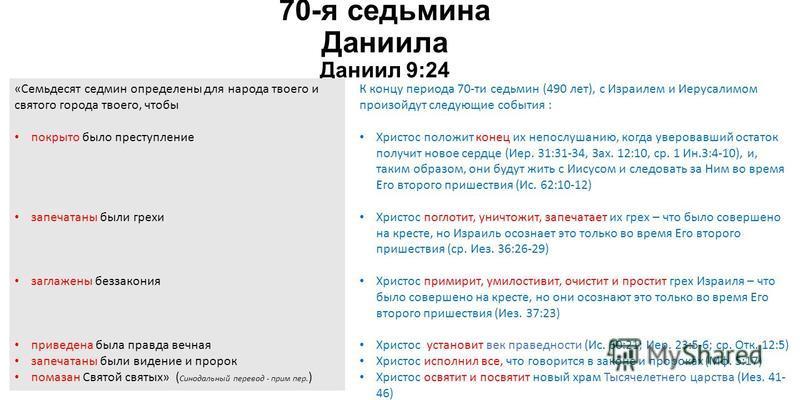 70-я ведьмина Даниила Даниил 9:24 «Семьдесят седмин определены для народа твоего и святого города твоего, чтобы покрыто было преступление запечатаны были грехи заглажены беззакония приведена была правда вечная запечатаны были видение и пророк помазан
