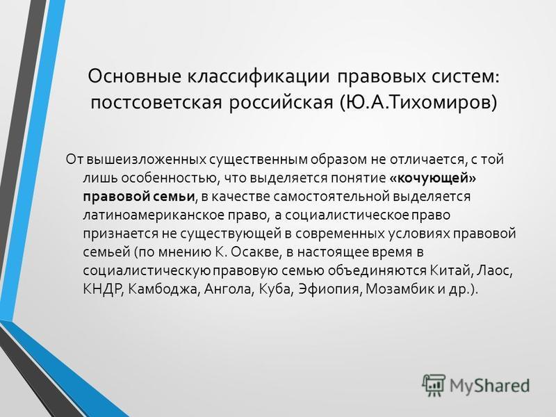 Основные классификации правовых систем: постсоветская российская (Ю.А.Тихомиров) От вышеизложенных существенным образом не отличается, с той лишь особенностью, что выделяется понятие «кочующей» правовой семьи, в качестве самостоятельной выделяется ла
