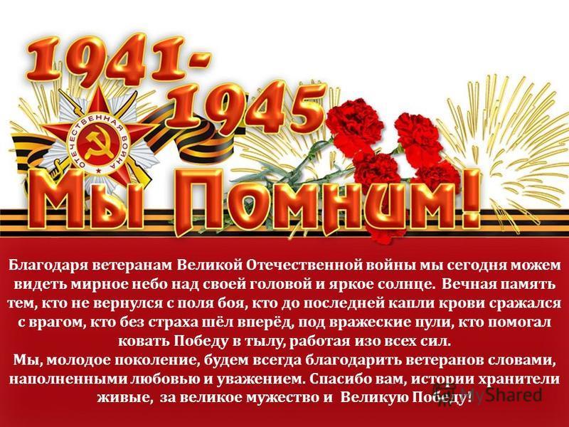 Благодаря ветеранам Великой Отечественной войны мы сегодня можем видеть мирное небо над своей головой и яркое солнце. Вечная память тем, кто не вернулся с поля боя, кто до последней капли крови сражался с врагом, кто без страха шёл вперёд, под вражес