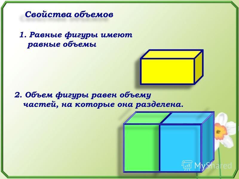 Свойства объемов 1. Равные фигуры имеют равные объемы 2. Объем фигуры равен объему частей, на которые она разделена.