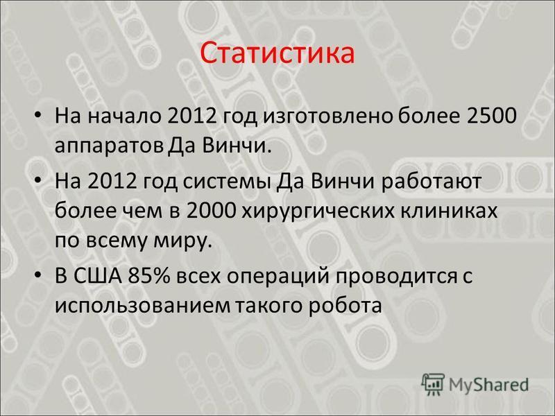 Статистика На начало 2012 год изготовлено более 2500 аппаратов Да Винчи. На 2012 год системы Да Винчи работают более чем в 2000 хирургических клиниках по всему миру. В США 85% всех операций проводится с использованием такого робота