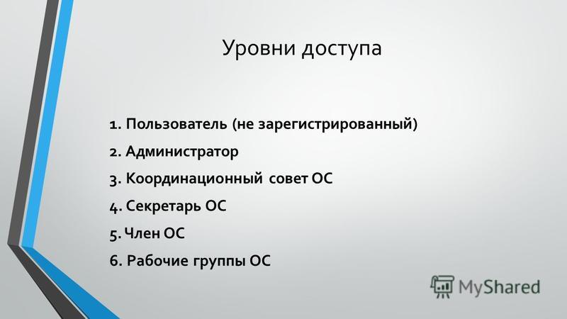 Уровни доступа 1. Пользователь (не зарегистрированный) 2. Администратор 3. Координационный совет ОС 4. Секретарь ОС 5. Член ОС 6. Рабочие группы ОС