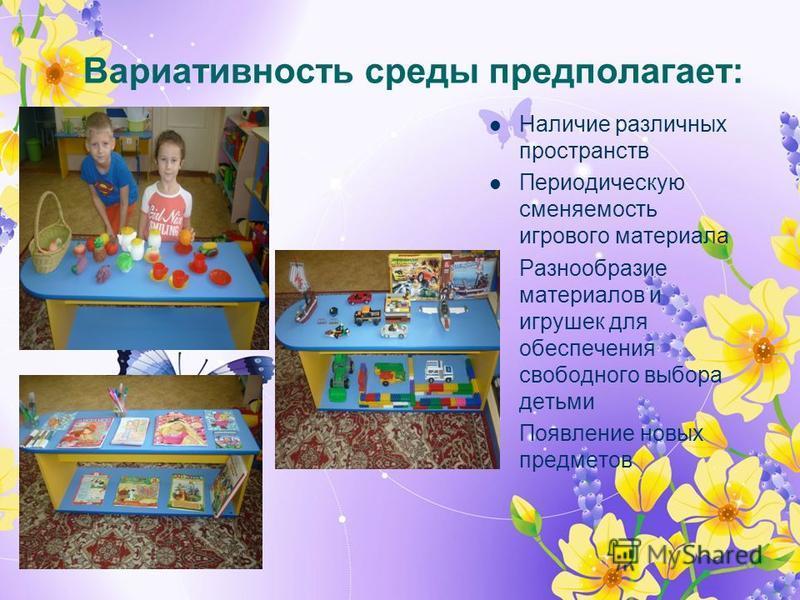 Вариативность среды предполагает: Наличие различных пространств Периодическую сменяемость игрового материала Разнообразие материалов и игрушек для обеспечения свободного выбора детьми Появление новых предметов