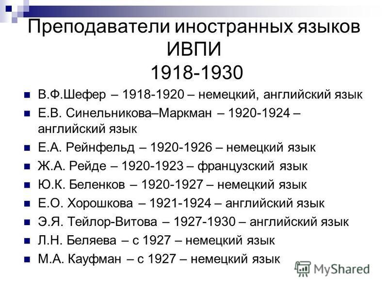Преподаватели иностранных языков ИВПИ 1918-1930 В.Ф.Шефер – 1918-1920 – немецкий, английский язык Е.В. Синельникова–Маркман – 1920-1924 – английский язык Е.А. Рейнфельд – 1920-1926 – немецкий язык Ж.А. Рейде – 1920-1923 – французский язык Ю.К. Беленк
