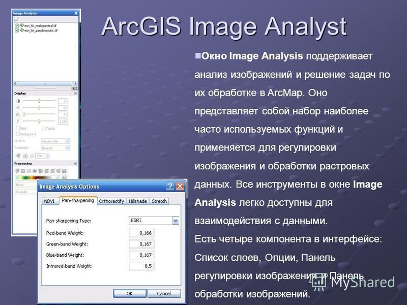 ArcGIS Image Analyst Окно Image Analysis поддерживает анализ изображений и решение задач по их обработке в ArcMap. Оно представляет собой набор наиболее часто используемых функций и применяется для регулировки изображения и обработки растровых данных