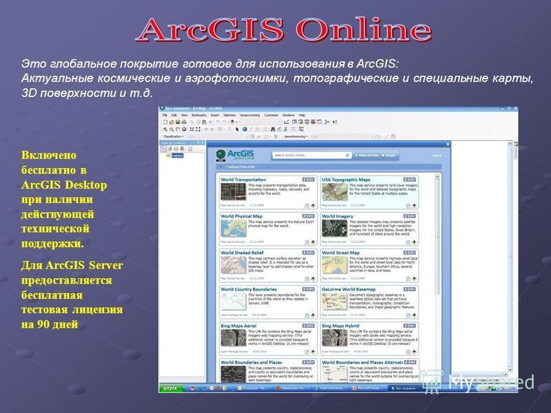 Это глобальное покрытие готовое для использования в ArcGIS: Актуальные космические и аэрофотоснимки, топографические и специальные карты, 3D поверхности и т.д. Включено бесплатно в ArcGIS Desktop при наличии действующей технической поддержки. Для Arc