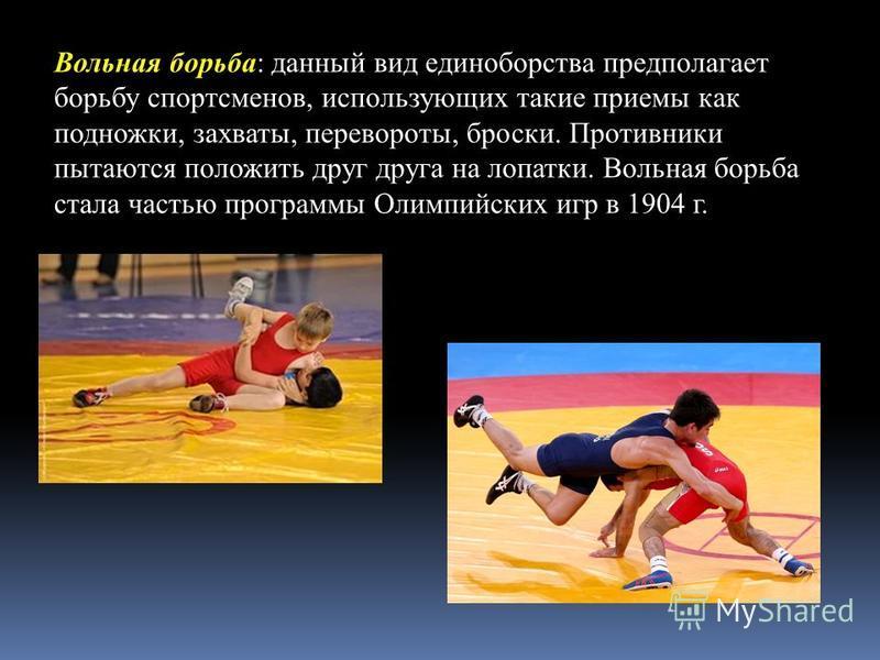 Вольная борьба: данный вид единоборства предполагает борьбу спортсменов, использующих такие приемы как подножки, захваты, перевороты, броски. Противники пытаются положить друг друга на лопатки. Вольная борьба стала частью программы Олимпийских игр в