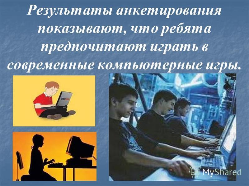 Результаты анкетирования показывают, что ребята предпочитают играть в современные компьютерные игры.