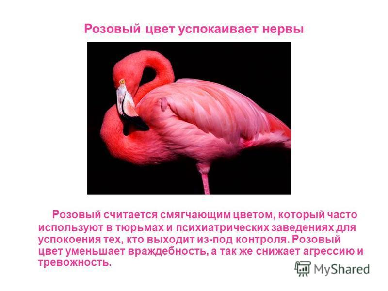 Розовый цвет успокаивает нервы Розовый считается смягчающим цветом, который часто используют в тюрьмах и психиатрических заведениях для успокоения тех, кто выходит из-под контроля. Розовый цвет уменьшает враждебность, а так же снижает агрессию и трев