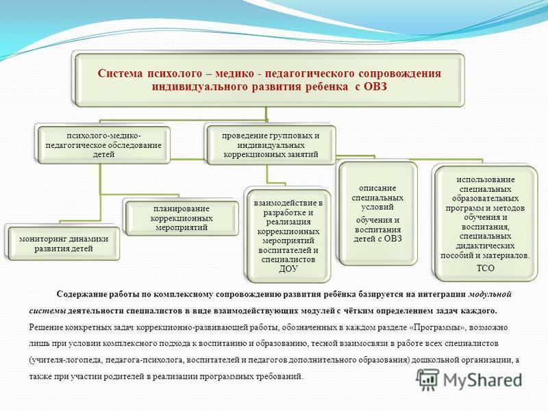 Система психолого – медико - педагогического сопровождения индивидуального развития ребенка с ОВЗ психолого-медико- педагогическое обследование детей мониторинг динамики развития детей планирование коррекционных мероприятий использование специальных