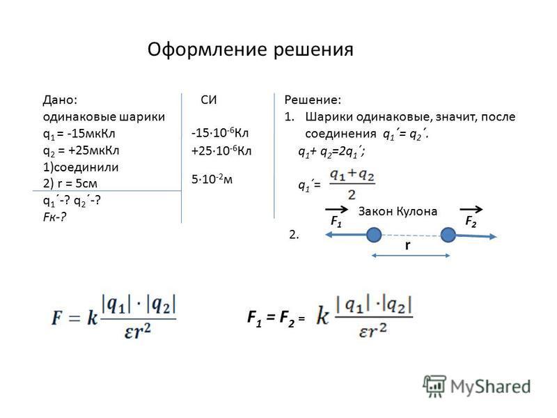 Оформление решения Дано: одинаковые шарики q 1 = -15 мк Кл q 2 = +25 мк Кл 1)соединили 2) r = 5 см q 1 ´-? q 2 ´-? Fк-? -1510 -6 Кл +2510 -6 Кл 510 -2 м СИРешение: 1. Шарики одинаковые, значит, после соединения q 1 ´= q 2 ´. q 1 + q 2 =2q 1 ´; q 1 ´=