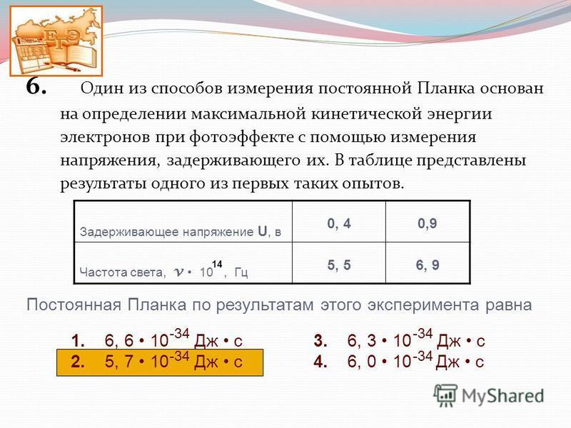 6. Один из способов измерения постоянной Планка основан на определении максимальной кинетической энергии электронов при фотоэффекте с помощью измерения напряжения, задерживающего их. В таблице представлены результаты одного из первых таких опытов. За