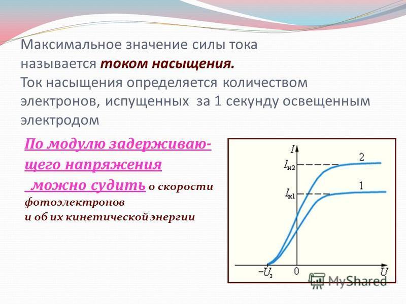 Максимальное значение силы тока называется током насыщения. Ток насыщения определяется количеством электронов, испущенных за 1 секунду освещенным электродом. По модулю задерживающего напряжения можно судить о скорости фотоэлектронов и об их кинетичес