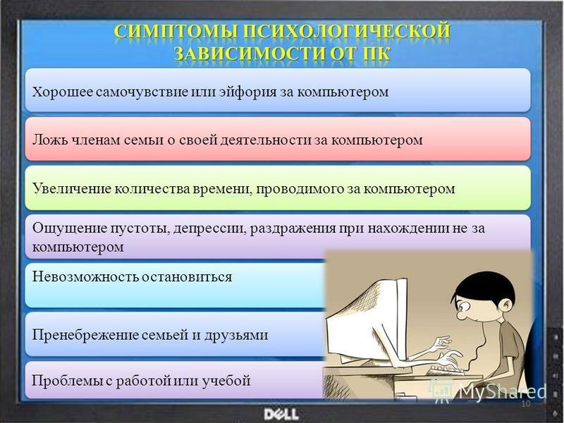 Х орошее самочувствие или эйфория за компьютером Ложь членам семьи о своей деятельности за компьютером Увеличение количества времени, проводимого за компьютером Ощущение пустоты, депрессии, раздражения при нахождении не за компьютером Невозможность о