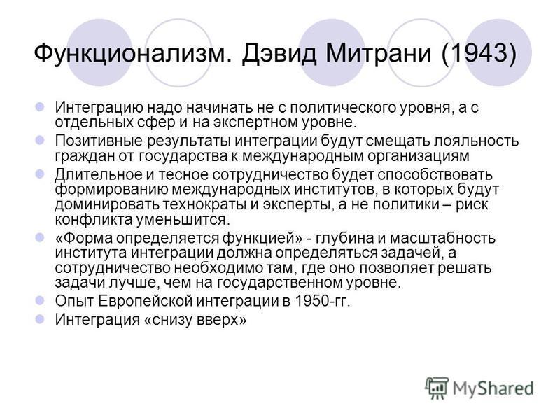Функционализм. Дэвид Митрани (1943) Интеграцию надо начинать не с политического уровня, а с отдельных сфер и на экспертном уровне. Позитивные результаты интеграции будут смещать лояльность граждан от государства к международным организациям Длительно
