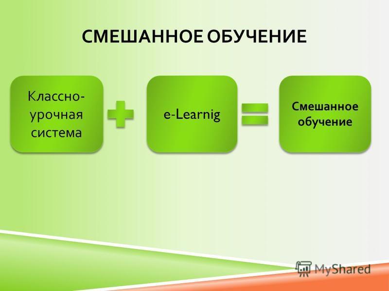 СМЕШАННОЕ ОБУЧЕНИЕ Классно - урочная система e-Learnig Смешанное обучение