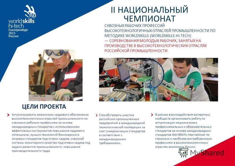 Екатеринбург 2015 Россия II НАЦИОНАЛЬНЫЙ ЧЕМПИОНАТ СКВОЗНЫХ РАБОЧИХ ПРОФЕССИЙ ВЫСОКОТЕХНОЛОГИЧНЫХ ОТРАСЛЕЙ ПРОМЫШЛЕННОСТИ ПО МЕТОДИКЕ WORLDSKILLS (WORLDSKILLS HI-TECH) СОРЕВНОВАНИЯ МОЛОДЫХ РАБОЧИХ, ЗАНЯТЫХ НА ПРОИЗВОДСТВЕ В ВЫСОКОТЕХНОЛОГИЧЕСКИХ ОТРА