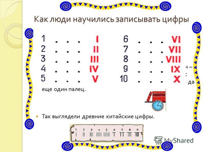 Как люди научились записывать цифры У древних римлян были другие цифры. Мы и сейчас пользуемся иногда римскими цифрами. Их можно увидеть и на циферблате часов, и в книге, где обозначается номер главы. Если внимательно рассмотреть, римские цифры похож