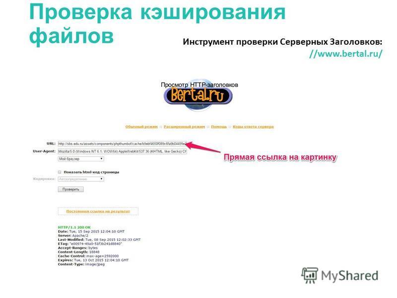 Проверка кэширования файлов Инструмент проверки Серверных Заголовков: //www.bertal.ru/
