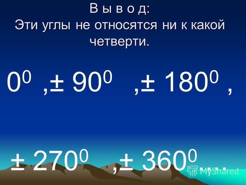 З А П О М Н И 0 0 <α<90 0,то α -угол 1 четверти. 90 0 <α<180 0,то α – угол 2 четверти. 180 0 <α<270 0,то α – угол 3 четверти. 270 0 <α<360 0,то α- угол 4 четверти.