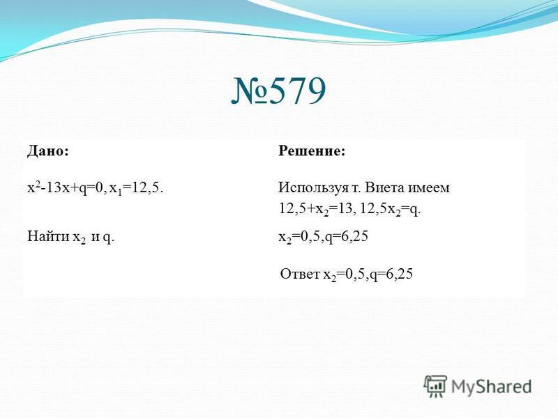 579 Дано:Решение: x 2 -13 х+q=0, х 1 =12,5. Используя т. Виета имеем 12,5+х 2 =13, 12,5 х 2 =q. Найти х 2 и q.х 2 =0,5,q=6,25 Ответ х 2 =0,5,q=6,25
