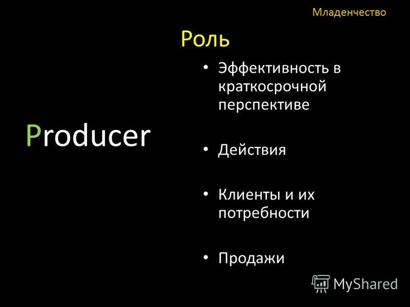 Роль Producer Эффективность в краткосрочной перспективе Действия Клиенты и их потребности Продажи Младенчество