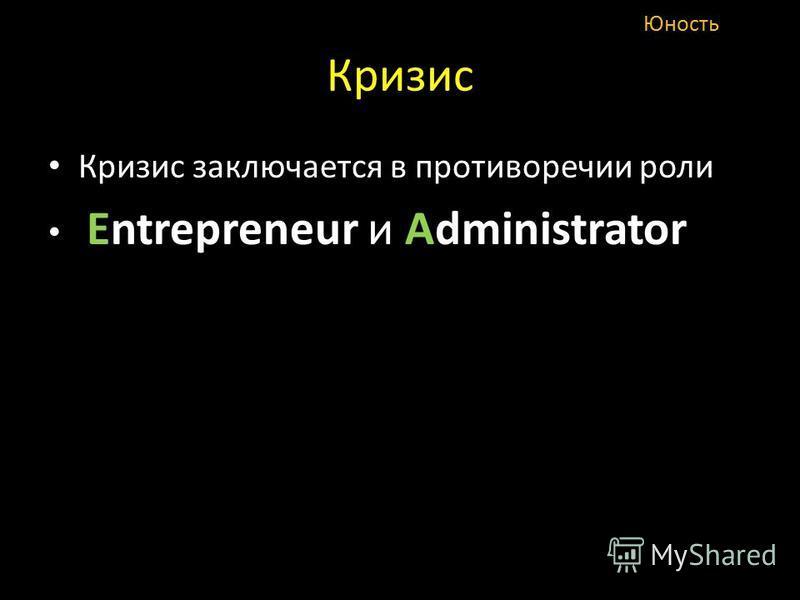 Кризис Кризис заключается в противоречии роли Entrepreneur и Administrator Юность