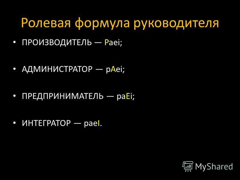 Ролевая формула руководителя ПРОИЗВОДИТЕЛЬ Paei; АДМИНИСТРАТОР pAei; ПРЕДПРИНИМАТЕЛЬ paEi; ИНТЕГРАТОР paeI.