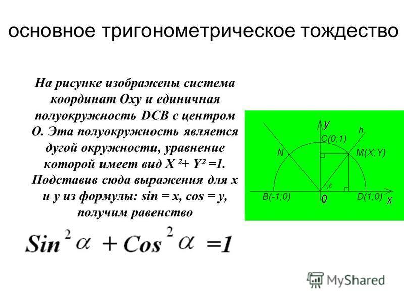На рисунке изображены система координат Оxy и единичная полуокружность DСВ с центром О. Эта полуокружность является дугой окружности, уравнение которой имеет вид X ²+ Y² =1. Подставив сюда выражения для x u y из формулы: sin = x, cos = y, получим рав