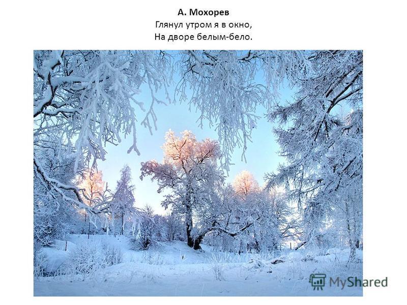 А. Мохорев Глянул утром я в окно, На дворе белым-бело.