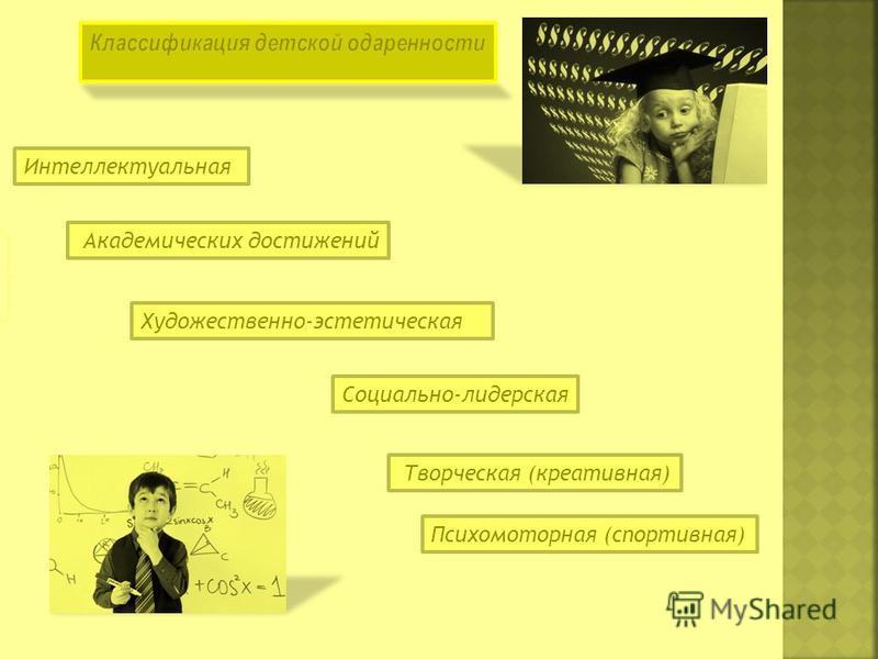 Интеллектуальная Академических достижений Художественно-эстетическая Социально-лидерская Творческая (креативная) Психомоторная (спортивная)