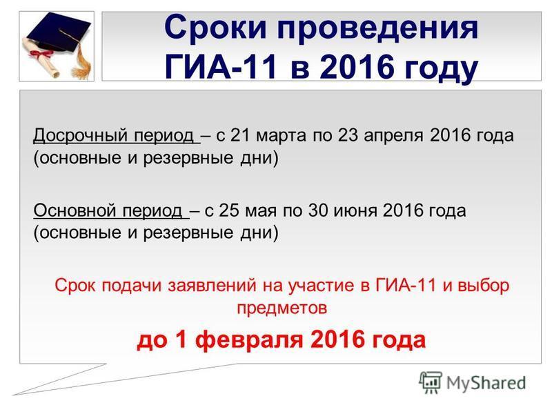 Сроки проведения ГИА-11 в 2016 году Досрочный период – с 21 марта по 23 апреля 2016 года (основные и резервные дни) Основной период – с 25 мая по 30 июня 2016 года (основные и резервные дни) Срок подачи заявлений на участие в ГИА-11 и выбор предметов