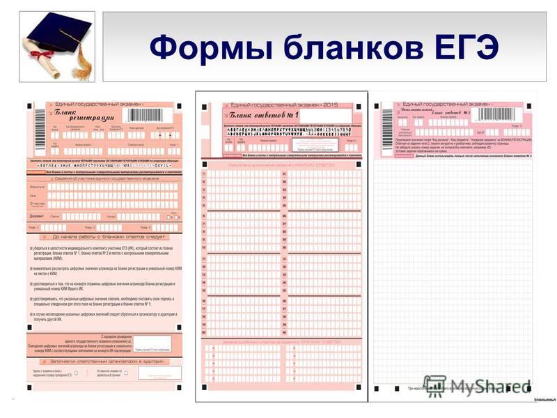 Формы бланков ЕГЭ