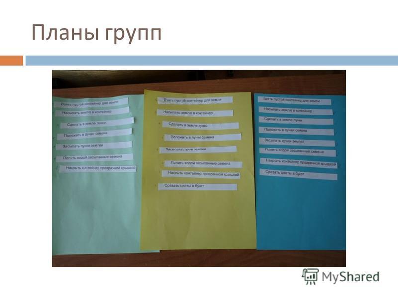 Планы групп