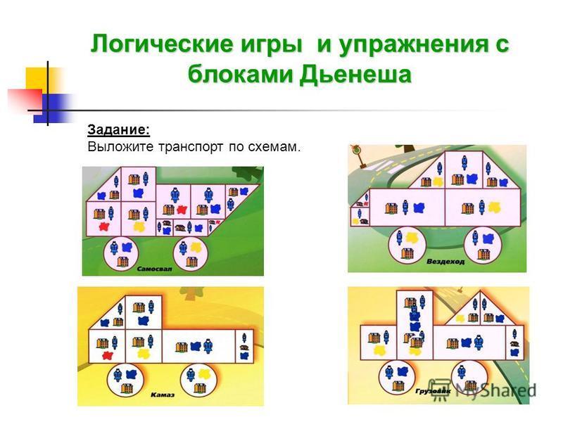 Логические игры и упражнения с блоками Дьенеша Задание: Выложите транспорт по схемам.